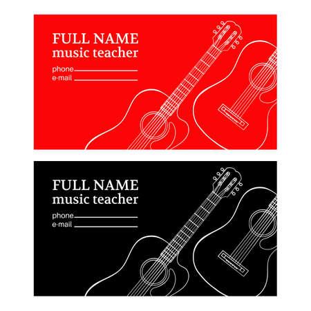 MUSIC TEACHER Business Card Guitar Education Vector Illustration Set for Print Fabric and Decoration Ilustração