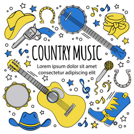 COUNTRY MUSIC FESTIVAL American Cowboy Western Holiday Vector Illustration Set for Print Fabric and Decoration