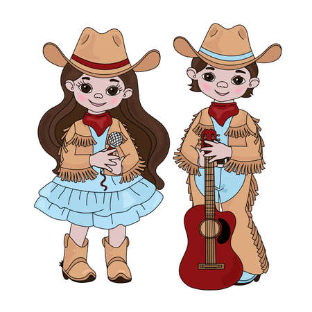 COUNTRY MUSIC FRIENDS Cowboy Cartoon American Western Festival Vector Illustration Set for Print Fabric and Decoration