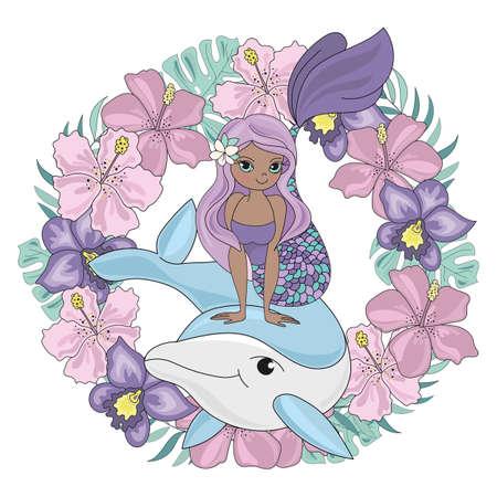 DOLPHIN WREATH Floral Mermaid Cartoon Underwater Sea Ocean Cruise Travel Tropical Animal Vector Illustration Set for Print Fabric and Decoration