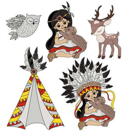 POCAHONTAS LIFE American Native Indians Princess Animals Vector Illustration Set for Print Fabric and Decoration Ilustracja