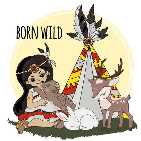 BORN WILD Pocahontas Indians Princess Animals American Native Vector Illustration Set for Print Fabric and Decoration Ilustración de vector