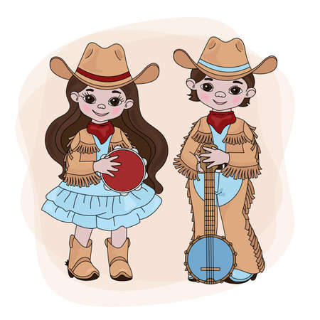 COWGIRL COWBOY Western Country Music American Festival Cartoon Vector Illustration Set for Print Fabric and Decoration