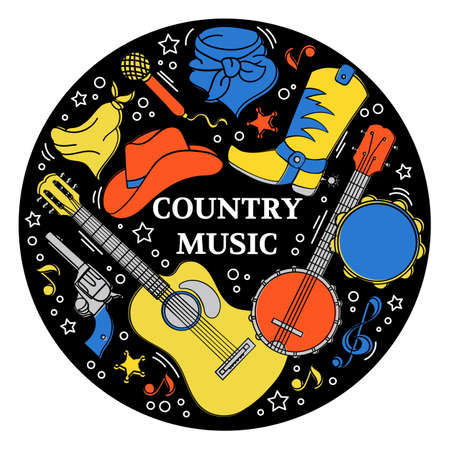 MUSIC STICKER American Cowboy Western Country Festival Vector Illustration for Print Fabric and Decoration Çizim