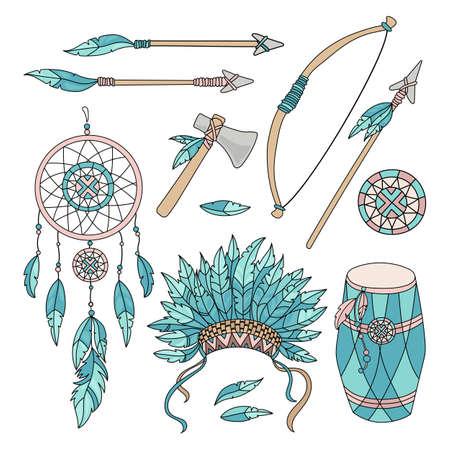 POCAHONTAS GOODS Cartoon American Native Indians Princess Attributes Vector Illustration Set for Print Fabric and Decoration Ilustración de vector
