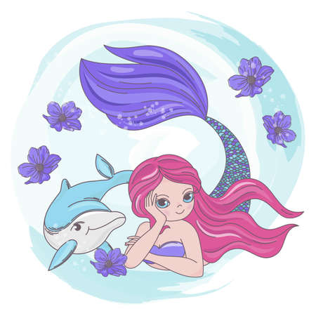 RESTING MERMAID Dolphin Sea Cartoon Underwater Ocean Cruise Travel Tropical Vector Illustration Set for Print Fabric and Decoration