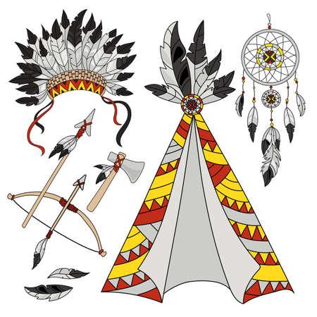 POCAHONTAS WORLD Cartoon American Native Indians Princess Attributes Illustration Set for Print Fabric and Decoration Ilustración de vector