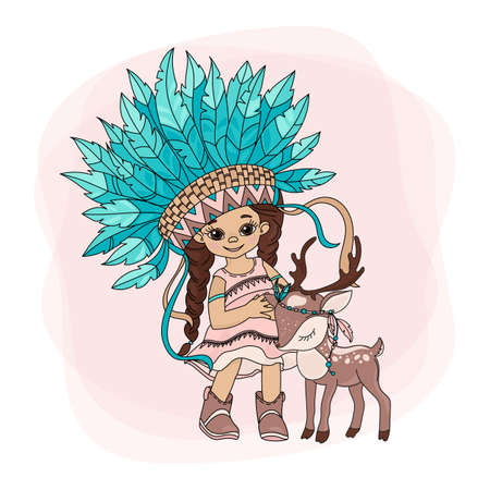 LOVELY POCAHONTAS Indians Princess American Native Red Skinned Deer Animal Illustration Set for Print Fabric and Decoration