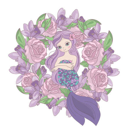 ROSE MERMAID Floral Flower Cartoon Wreath Underwater Sea Ocean Cruise Travel Tropical Holiday Wedding Illustration Set for Print Fabric and Decoration