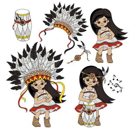 POCAHONTAS SET Indians Princess American Native World Attributes Illustration Set for Print Fabric and Decoration