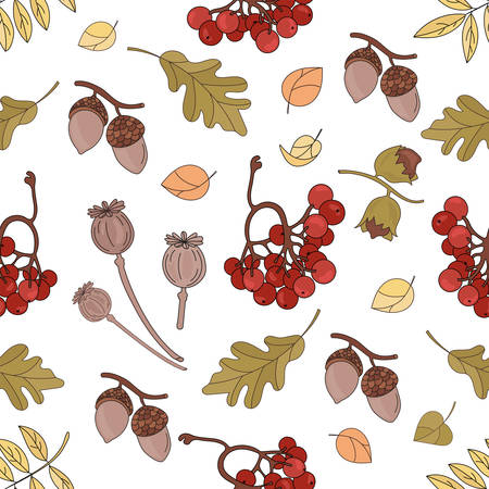 AUTUMN LANDSCAPE Fall Season Seamless Pattern Vector Illustration for Print Fabric and Digital Paper