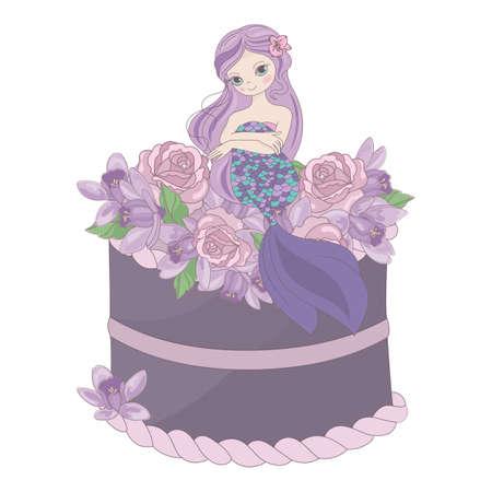 MERMAID CAKE Floral Sweet Princess Party Wedding Invitation Congratulation Holiday Cartoon Vector Illustration Set for Print Fabric and Decoration Reklamní fotografie - 131360574