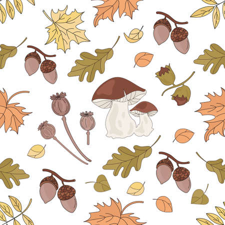 MUSHROOM LANDSCAPE Nature Forest Autumn Fall Season Seamless Pattern Vector Illustration for Print Fabric and Digital Paper