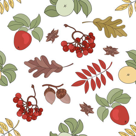 APPLE LANDSCAPE Nature Forest Autumn Fall Season Seamless Pattern Vector Illustration for Print Fabric and Digital Paper