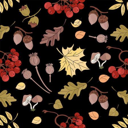 AUTUMN MAPLE Nature Forest Landscape Fall Season Black Seamless Pattern Vector Illustration for Print Fabric and Digital Paper Ilustração