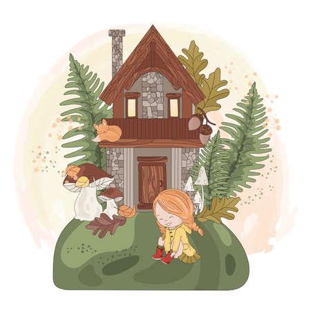 FAIRY GIRL HOUSE Autumn Fall Season Nature Animal Vector Illustration Set for Print Fabric and Design Ilustração