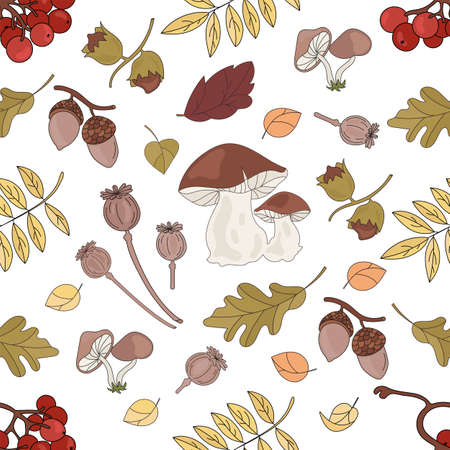 NUT LANDSCAPE Nature Forest Autumn Fall Season Seamless Pattern Vector Illustration for Print Fabric and Digital Paper
