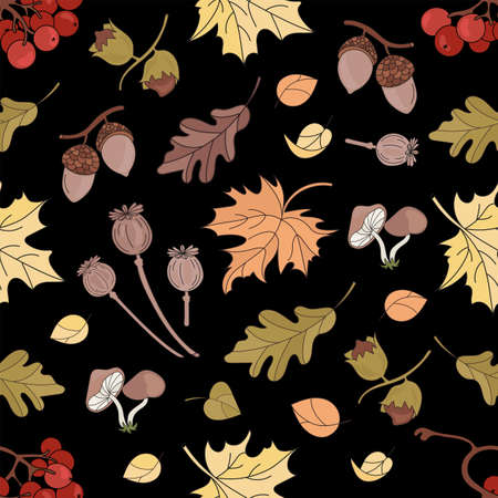ASHBERRY LANDSCAPE Nature Forest Autumn Fall Season Black Seamless Pattern Vector Illustration for Print Fabric and Digital Paper