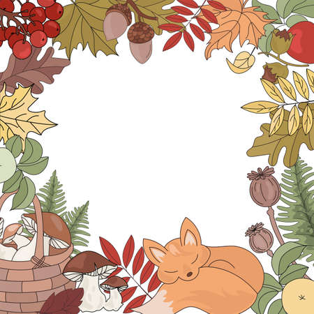 AUTUMN FOX Forest Animal Border Fall Season Nature Vector Illustration Set for Print Fabric and Design