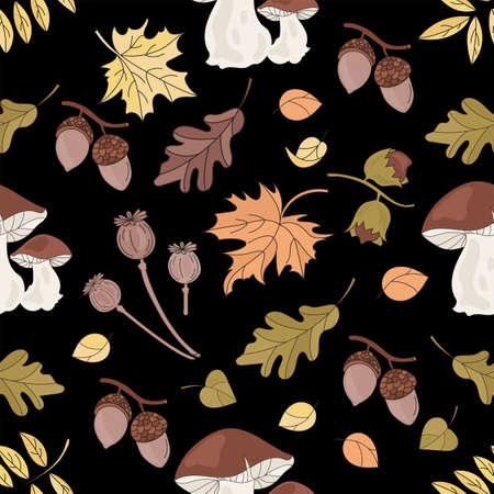 AUTUMN MUSHROOM Nature Forest Landscape Fall Season Black Seamless Pattern Vector Illustration for Print Fabric and Digital Paper Ilustração