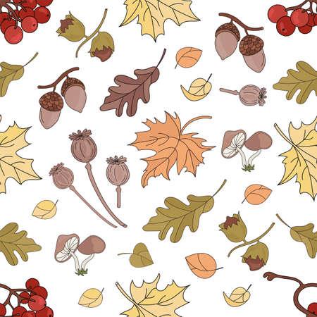 AUTUMN RAWBERRY Nature Forest Landscape Fall Season Seamless Pattern Vector Illustration for Print Fabric and Digital Paper Ilustração