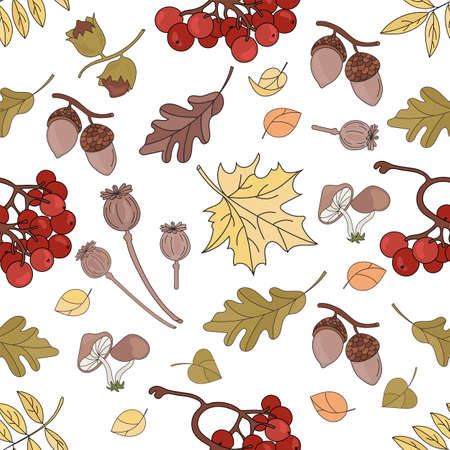 AUTUMN ROWAN Nature Forest Fall Season Seamless Pattern Vector Illustration for Print Fabric and Digital Paper
