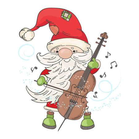CELLO SANTA Merry Christmas and New Year Musician Holiday Vector Illustration Set for Print Fabric and Decoration Ilustracja