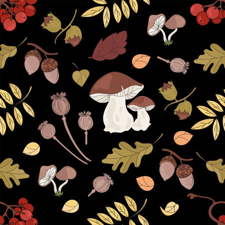 FALL MUSHROOM Nature Forest Landscape Fall Season Black Seamless Pattern Vector Illustration for Print Fabric and Digital Paper