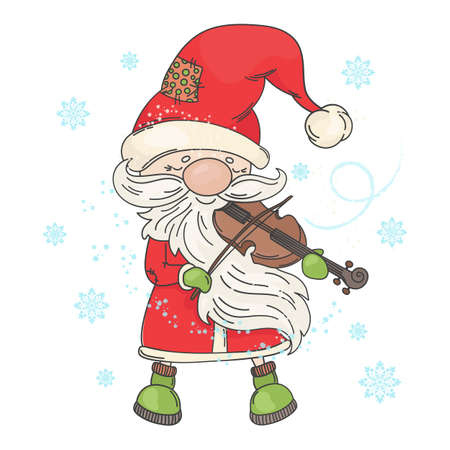 VIOLIN SANTA Merry Christmas and New Year Musician Holiday Vector Illustration Set for Print Fabric and Decoration Ilustracja
