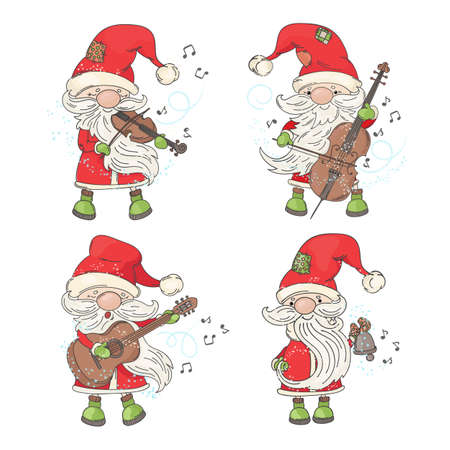 FOUR SANTA Merry Christmas and New Year Musician Cartoon Holiday Vector Illustration Set for Print Fabric and Decoration Illustration