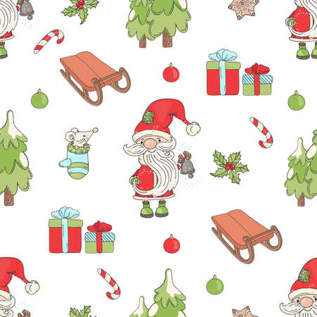SANTA BELL New Year And Merry Christmas Winter Holiday Seamless Pattern Vector Illustration for Print Fabric and Digital Paper