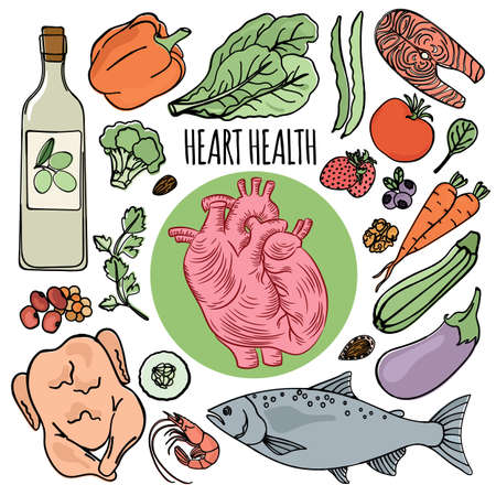 HEART HEALTH DIET Human Organic Food Proper Nutrition Vector Illustration Set