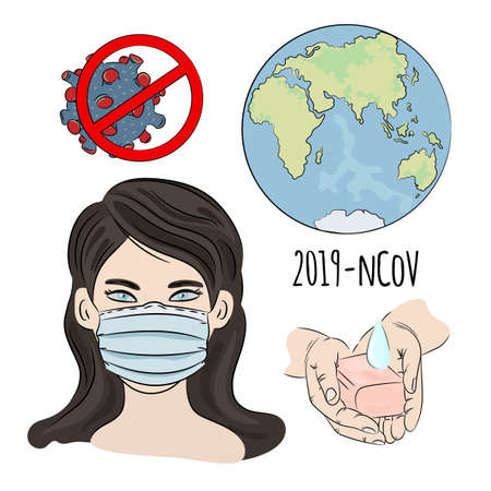 NCOV IN MASK Coronavirus Health Earth Human Epidemic Pneumonia Danger Medicine Vector Illustration Set