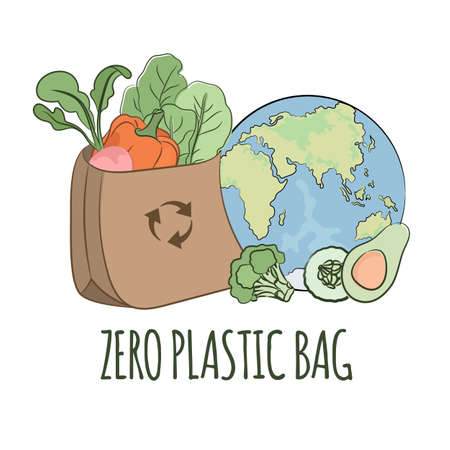 RECYCLING USE Earth Global Ecological Environmental Pollution Problem Banner Vector Illustration Set for Print Fabric and Decoration
