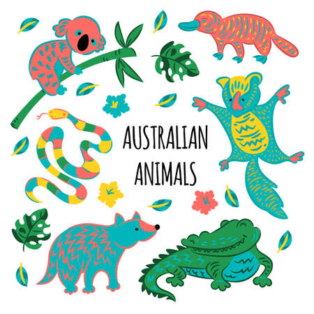 AUSTRALIAN ANIMALS Forest Cartoon Fairy Tale Nature Illustration for Print Fabric and Decoration