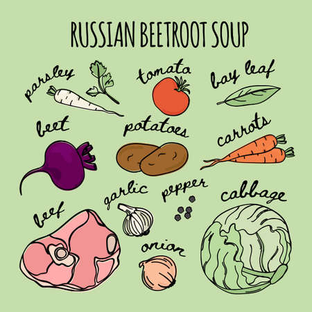 RUSSIAN BEETROOT SOUP National Traditional Borscht Recipe Food Vector Illustration Set for Print Fabric and Decoration Ilustracja