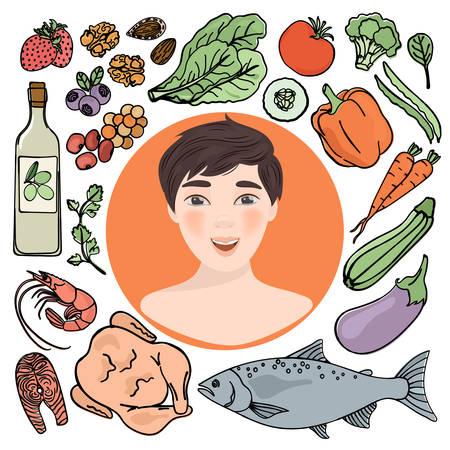 HEALTHY DIET Human Nutrition Medicine Education Vector Illustration Set Çizim