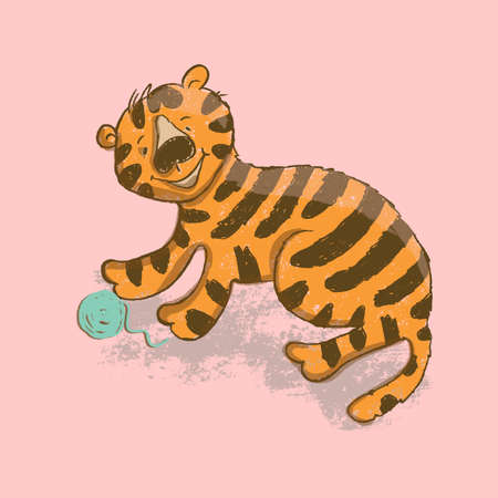 CUTE TIGER Cartoon Jungle Animal Vector Illustration Card for Print Fabric and Decoration Çizim