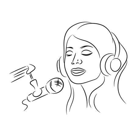 GIRL SING Music Sound Recording Video Podcast Internet Online Vector Illustration Set for Print Fabric and Decoration Ilustração