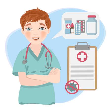 HEALTH CARE ONLINE Coronavirus Illness Pandemic Medical Practitioner Doctor Vector Illustration Set Ilustração