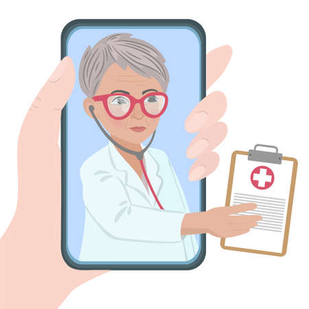ONLINE GENERAL PRACTITIONER Coronavirus Illness Pandemic Internet Doctor Vector Illustration Set