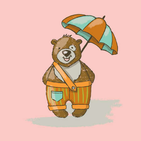 BEAR UMBRELLA Cartoon Cute Animal Hand Drawn Vector Illustration Card for Print Fabric and Decoration Çizim