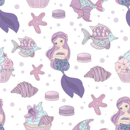 MERMAID INVITES Princess Girl Underwater Tropical Sea Ocean Travel Cruise Vacation Animal Seamless Pattern Vector Illustration for Print Fabric Digital Paper 向量圖像