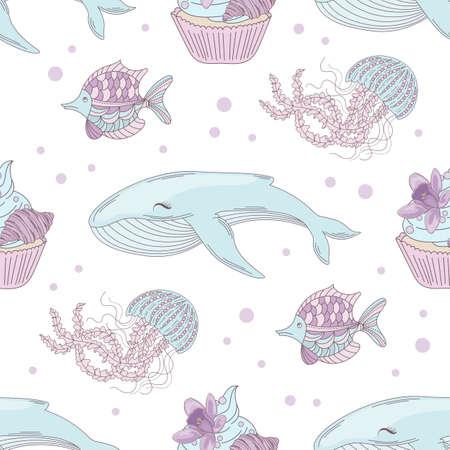 OCEAN BIRTHDAY Underwater Animal Tropical Sea Travel Cruise Vacation Seamless Pattern Vector Illustration for Print Fabric Digital Paper 向量圖像