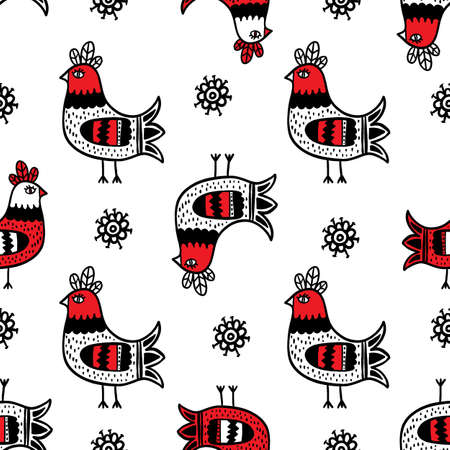 COCK PRINT Folk Ethnic Doodle Ornament Holiday Cartoon Seamless Pattern Vector Illustration for Print Fabric and Digital Paper Vettoriali