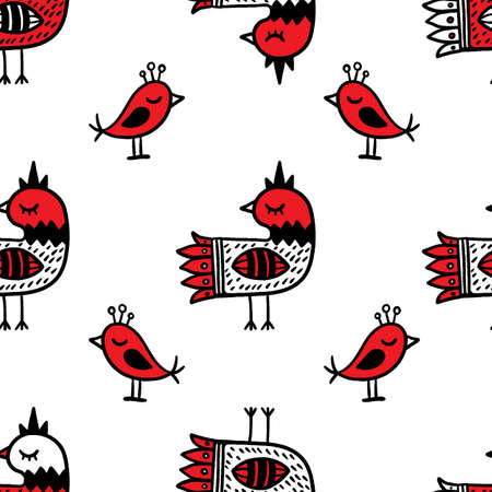 FOLK COCK Ethnic Doodle Ornament Holiday Cartoon Seamless Pattern Vector Illustration for Print Fabric and Digital Paper