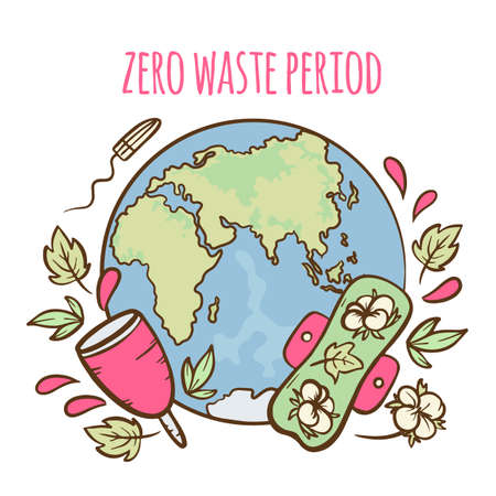 ZERO WASTE PERIOD Feminine Hygiene Menstrual Gynecological Healthcare Hand Draw Vector Illustration Set