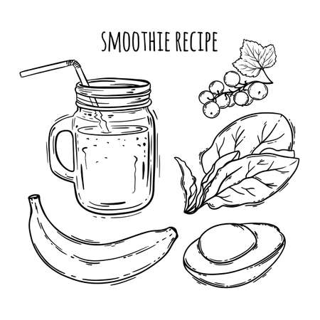 SMOOTHIE RECIPE Healthy Eating Nutrition Beverage Paleo Keto Organic Diet Nature Vector Illustration For Print Fabric and Decoration