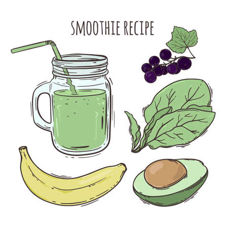RECIPE SMOOTHIE Healthy Eating Nutrition Beverage Paleo Keto Organic Diet Nature Vector Illustration For Print Fabric and Decoration