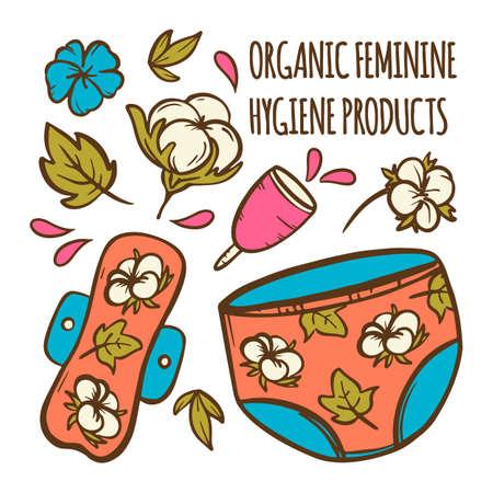ORGANIC FEMININE Gynecological Healthcare Zero Waste Women Hygiene Hand Drawn Vector Illustration Set